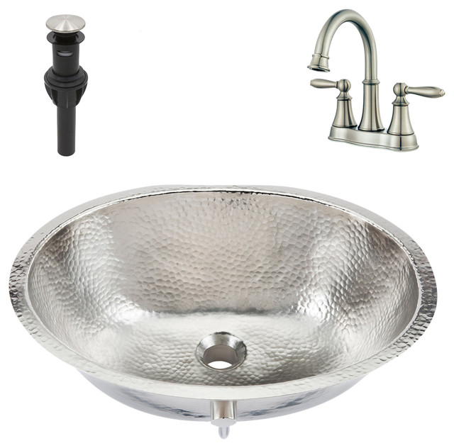 Pavlov Undermount Bathroom Sink Kit With Faucet and Drain, Nickel