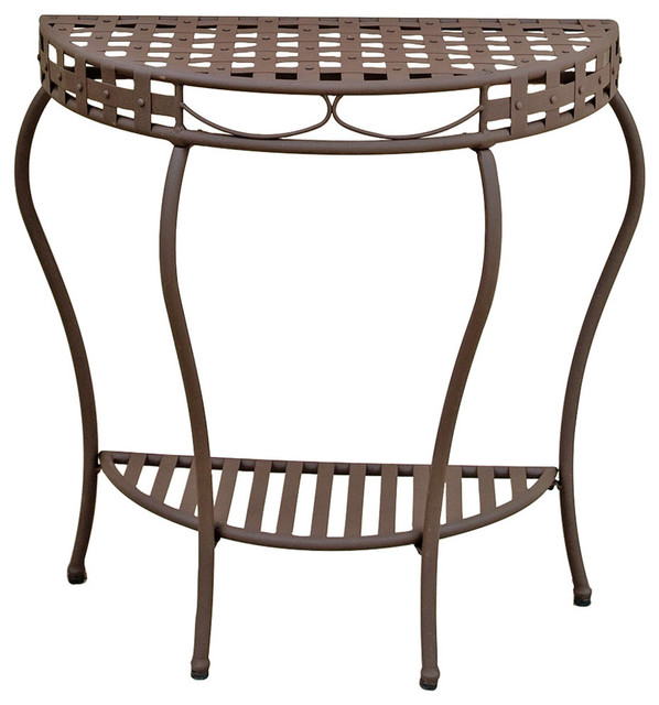 Santa Fe Iron Nailhead 2 Tier Half Moon Table,Rustic Brown Craftsman Outdoor