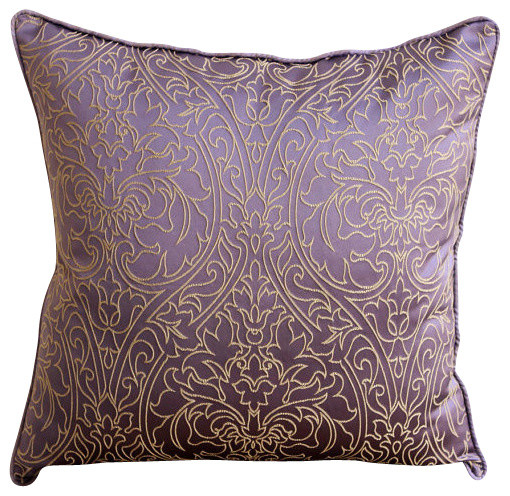 Gold Damask Embroidered 14 X14 Art Silk Purple Pillows Cover