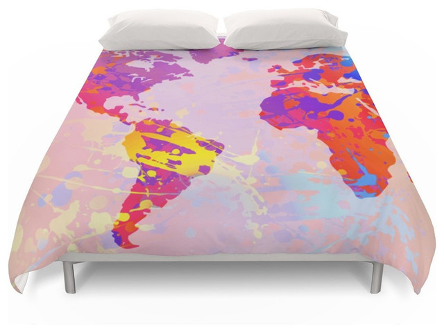 What a Colorful World Map Duvet Cover, Queen