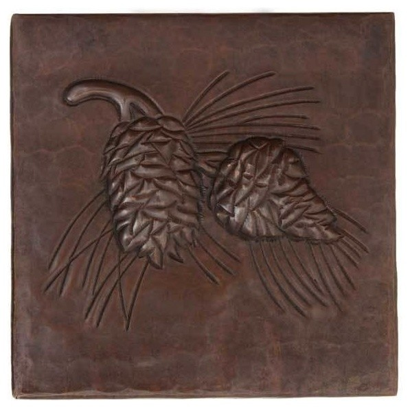 "Pinecones Design Hammered Copper Tile, 12""x12"""