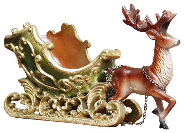 7 5 Elegant Green And Gold Sleigh With Reindeer Table Top Decoration
