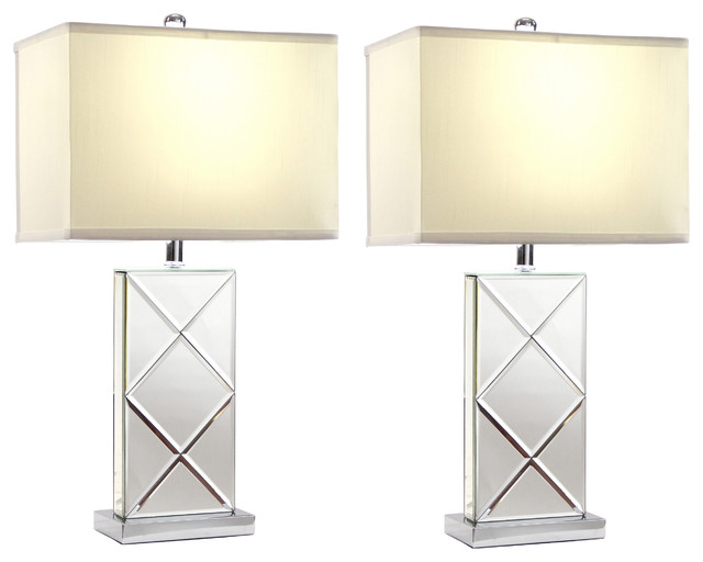 Rory Mirrored Table Lamps, Set of 2 transitional-lamp-sets - Rory Mirrored Table Lamps, Set Of 2 - Transitional - Lamp Sets
