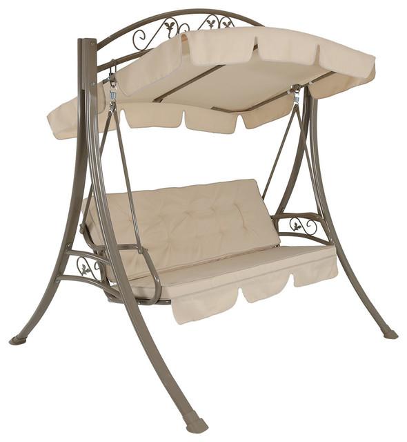 Ordinaire Sunnydaze Deluxe Patio Swing With Heavy Duty Steel Frame, Beige Cushions