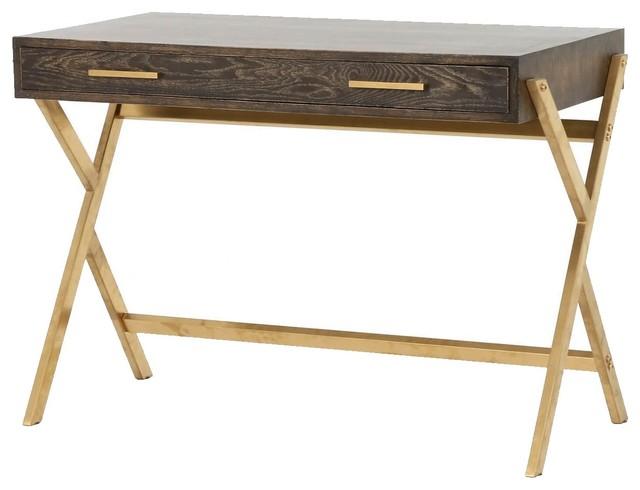 Marvelous Dante Mid Century Modern Oak Wood Gold Brass Writing Desk Home Interior And Landscaping Ponolsignezvosmurscom
