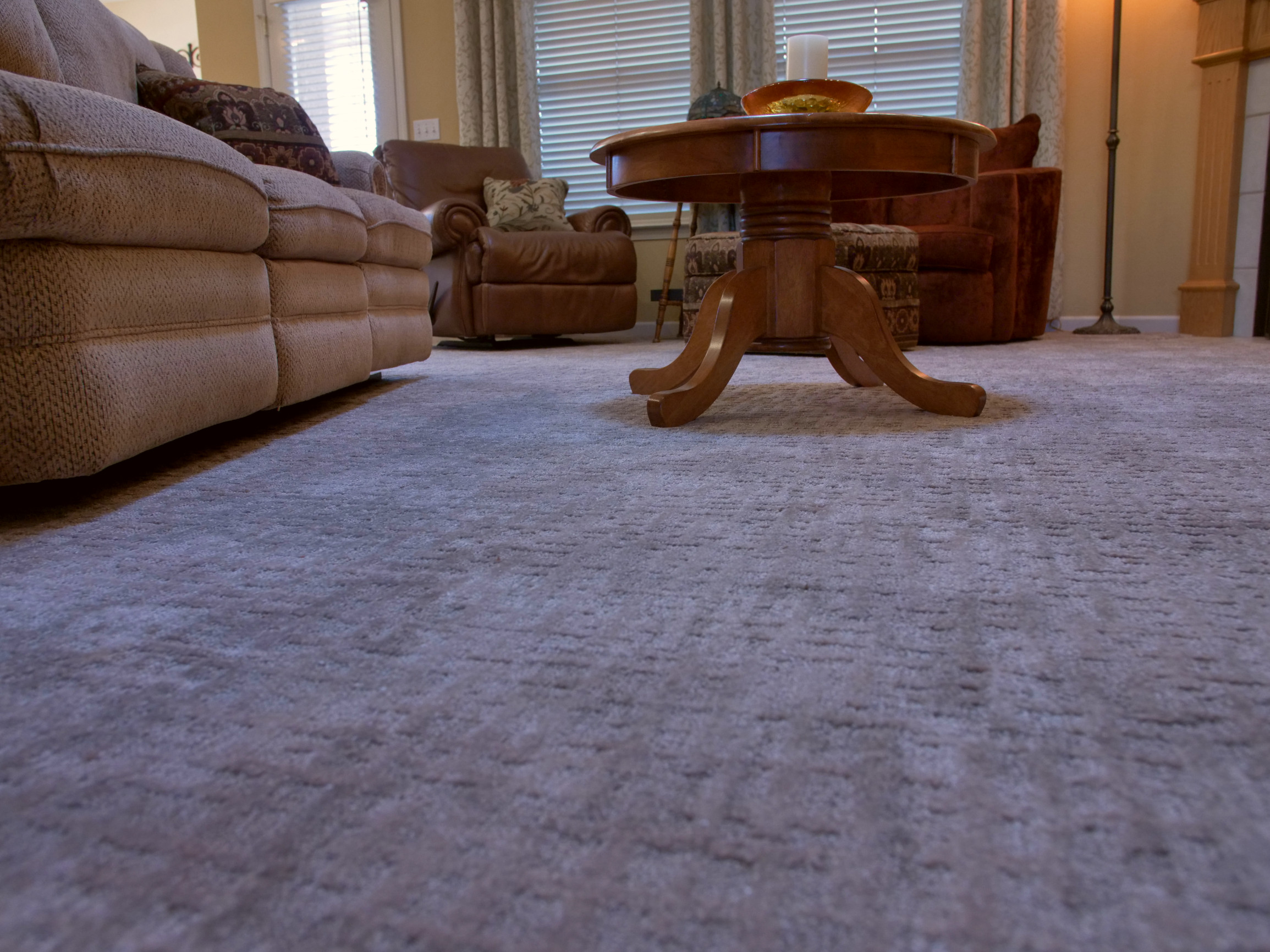 Transitional Living Room with Carpet