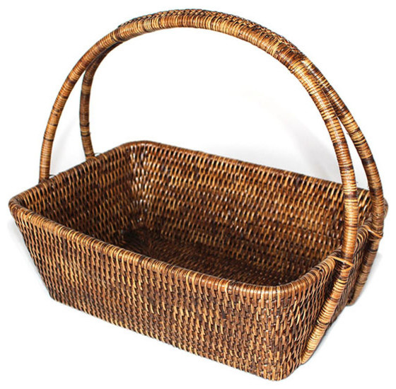 Rattan Flower Baskets : Rattan flower basket with handle farmhouse baskets