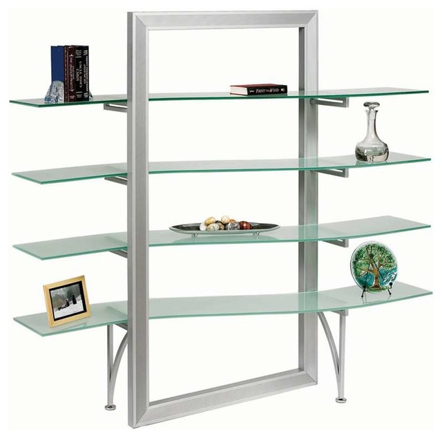 Dainolite Elegant Free-standing Shelf Frosted Glass Silver Metal  contemporary-display-and-