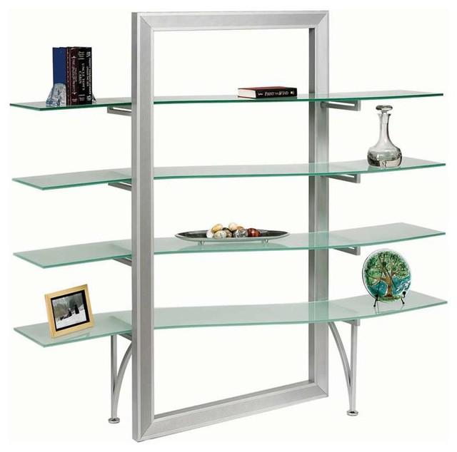 Dainolite Elegant Free Standing Shelf Frosted Gl Silver Metal