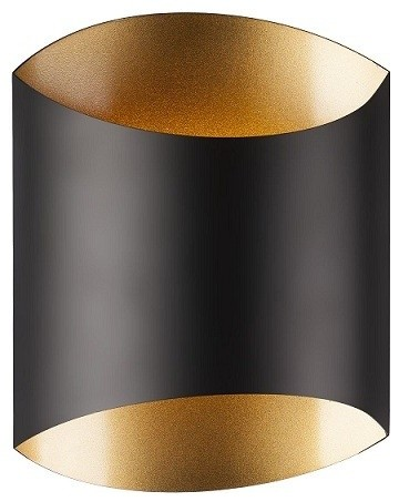1 Light Sconce Black With Black And Gold Shade Contemporary