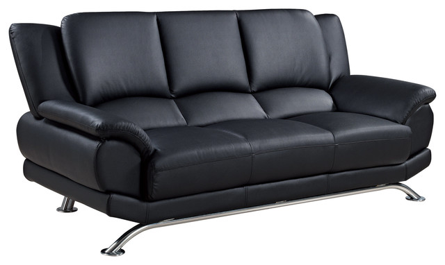 Global Furniture Bonded Leather Sofa, Black With Chrome Legs  Contemporary Sofas
