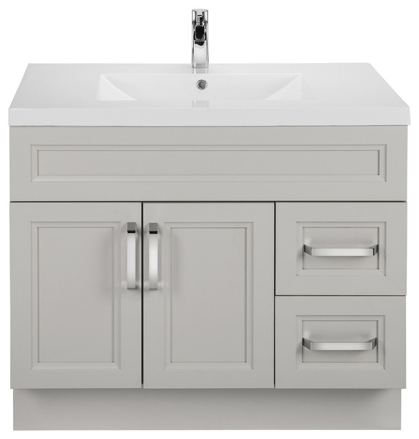 Morning Dew 36&x27;&x27; Contemporary Vanity 2 Door 2 Drawers Right Hand With Top.