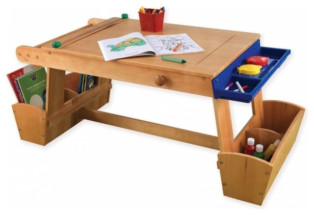 Art Table With Drying Rack and Storage - Transitional - Kids Tables ...