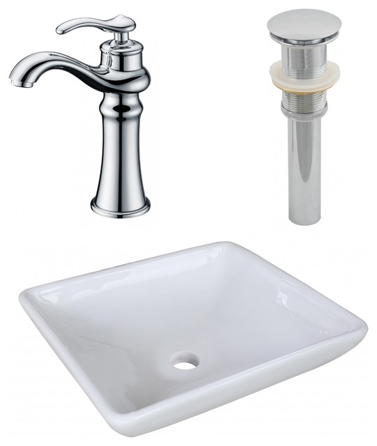 "Above Counter Vessel Set For Deck Mount Drilling, Faucet Included, 15.75""."