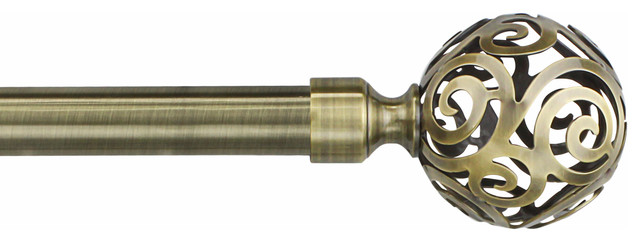"Curtain Rods, 3/4"" Diameter Cage Finial, Clare Antique Brass, 48""-86""."