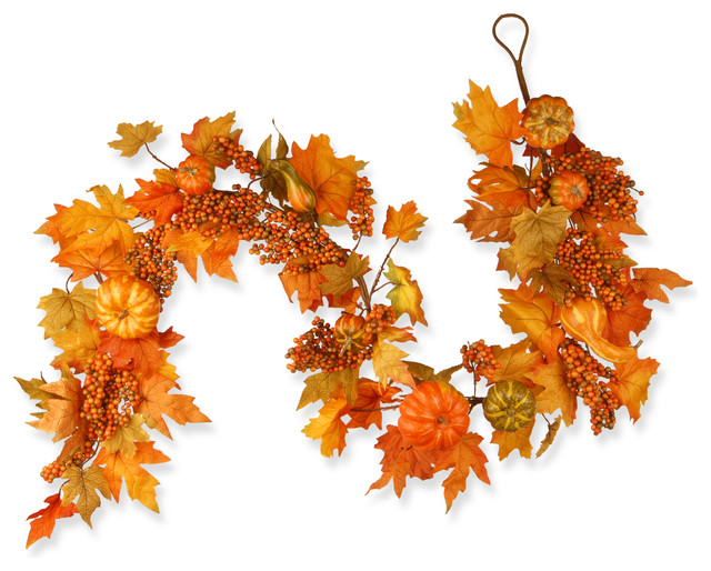 "70"" Maple Leaf, Pumpkin And Berry Garland."