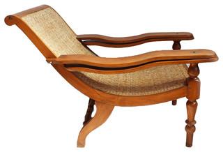 Teak And Cane Plantation Chair