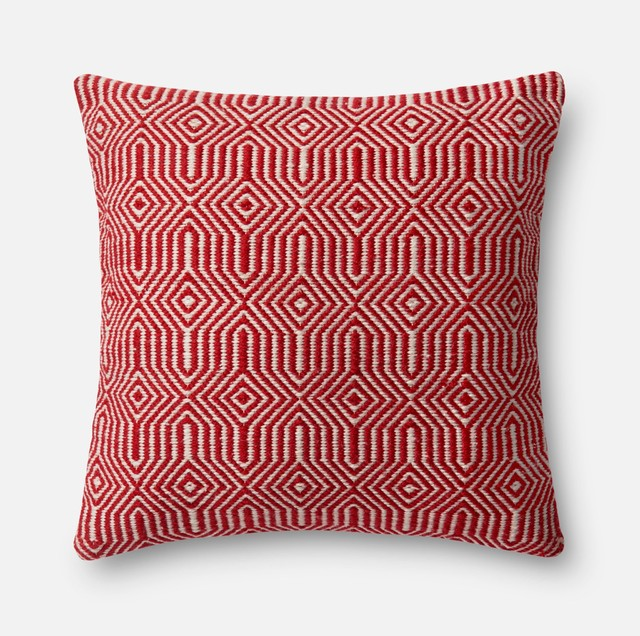 "Dset Pillow Cover With Down, Red, 22""."