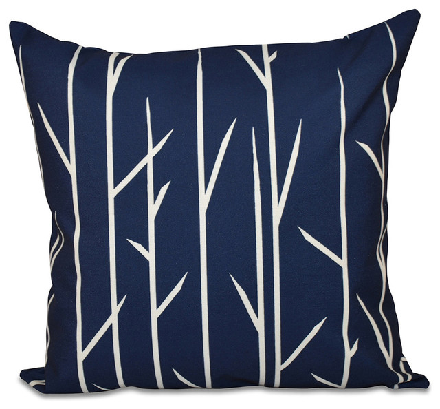 "Polyester Pillow, Floral, Navy Blue, 16""x16""."