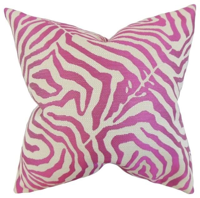 Oluchi Zebra Print Pillow Shocking Pink Contemporary Decorative Custom Pink Zebra Print Decorative Pillows