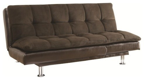 Coaster Millie Sofa Bed With Chrome Legs, Brown