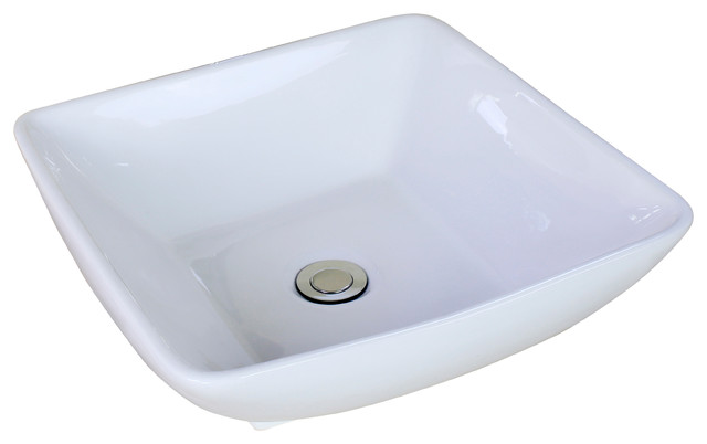 "16.5""x16.5"" Above Counter Square Vessel, White Color, Deck Mount Drilling."