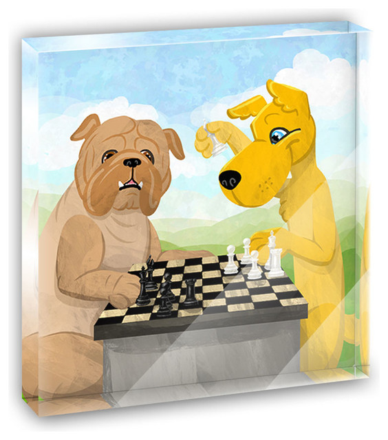 Dogs Playing Chess Mini Desk Plaque and Paperweight contemporary-decorative-accents