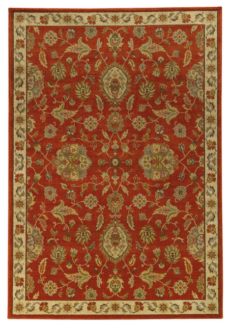 Colette Floral Red And Beige Rug 5 3 Quot X7 6 Quot Traditional