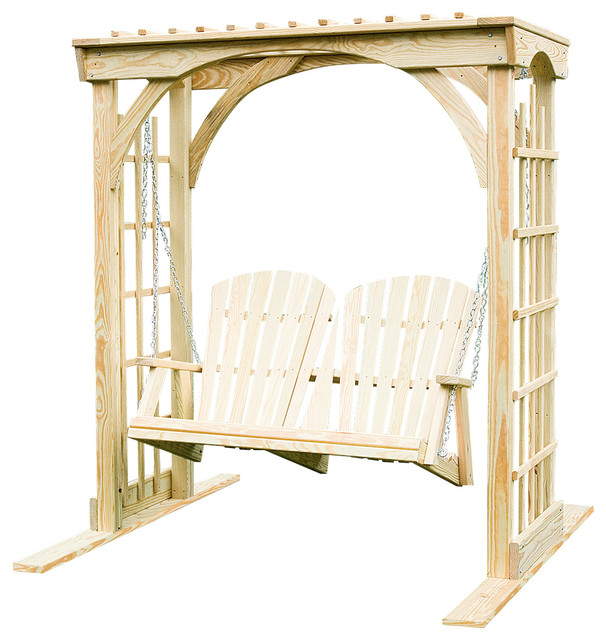 Pine Martha&x27;s Arbor 3&x27;x6&x27; With 4&x27; Adirondack Swing, Unfinished.