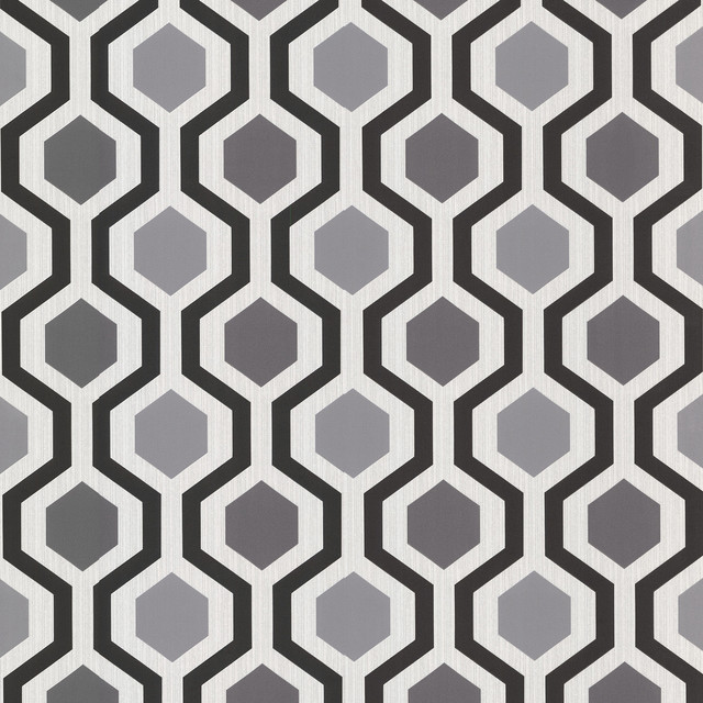 347-20133 Marina Modern Geometric Black And White Trellis Wallpaper.