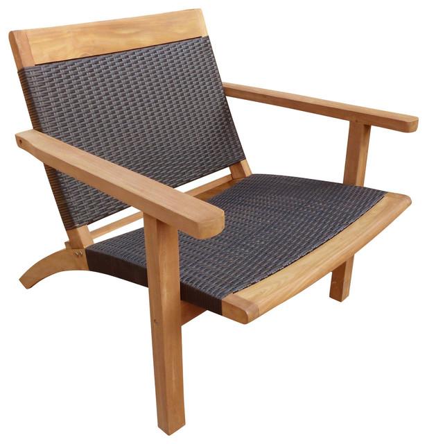 Teak Barcelona Patio Lounge Chair With Black Webbing Tropical