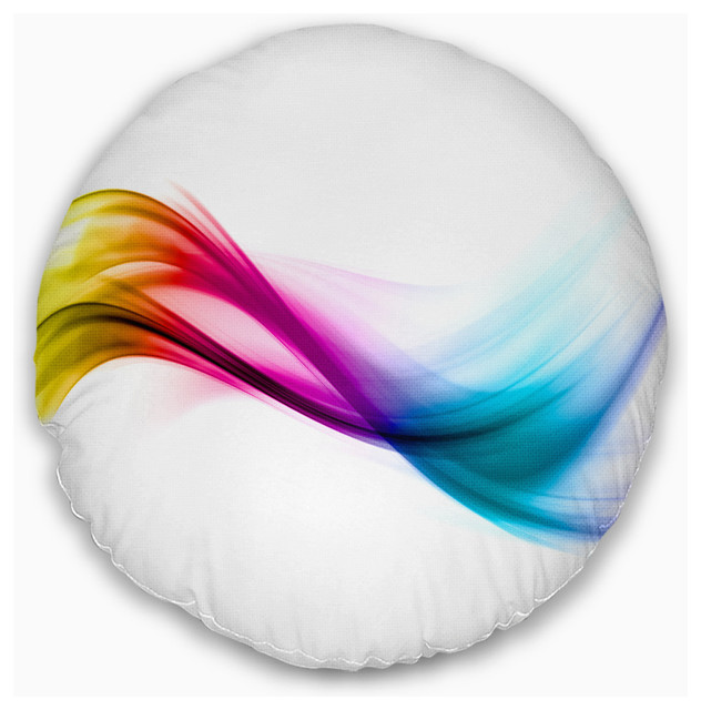 """Rainbow Abstract Pattern Abstract Throw Pillow, 20"""" Round"""