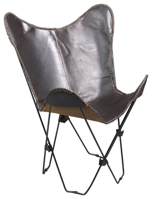 Genuine Leather Butterfly Chair Folding Lounge Modern
