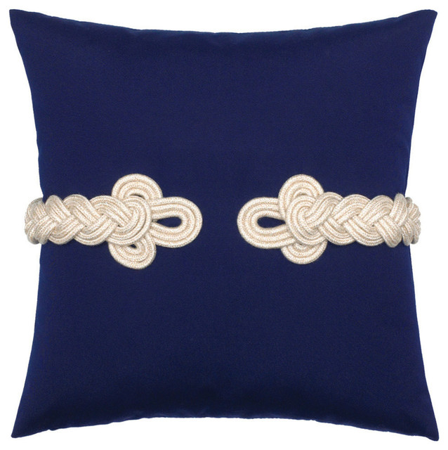Elaine Smith Navy Frogu0027s Clasp Pillow Beach Style Outdoor Cushions And
