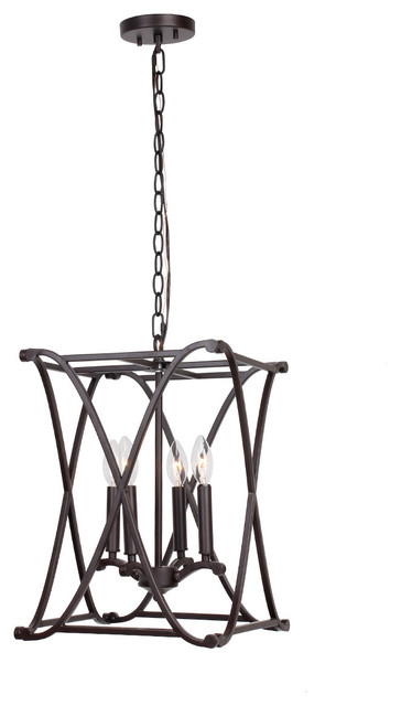 4-Light Georgetown Pendant, Brown.
