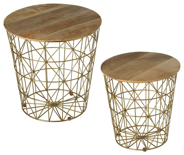 Fantastic Cbk Metal 2 Piece Set Nested Gold Storage Basket Side Table 159127 Squirreltailoven Fun Painted Chair Ideas Images Squirreltailovenorg