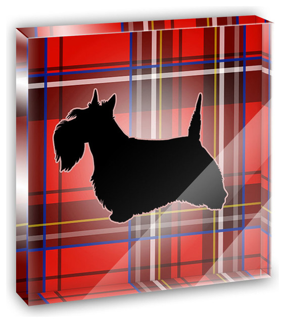 Scottie Dog on Red Plaid Scottish Terrier Mini Desk Plaque and Paperweight contemporary-decorative-accents
