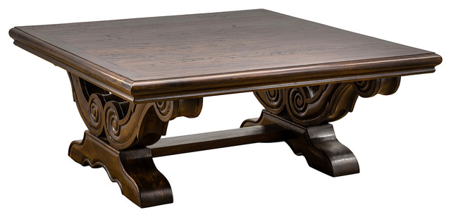 Attirant Milano Carved Coffee Table, Antique Black