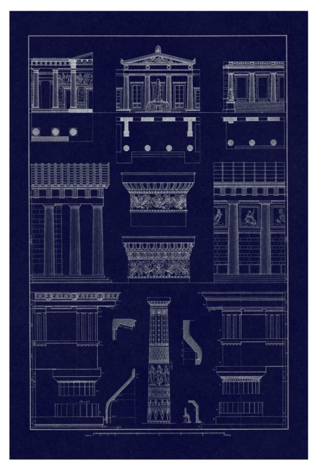 Doric Order Temple Of Zeus And Cased Column Blueprint Paper Art 18 X26 Contemporary Prints And Posters By Global Gallery