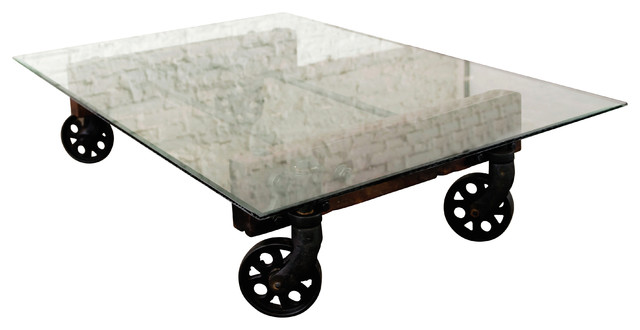 Reclaimed Cast Iron Coffee Table With Glass Top Industrial Coffee Tables