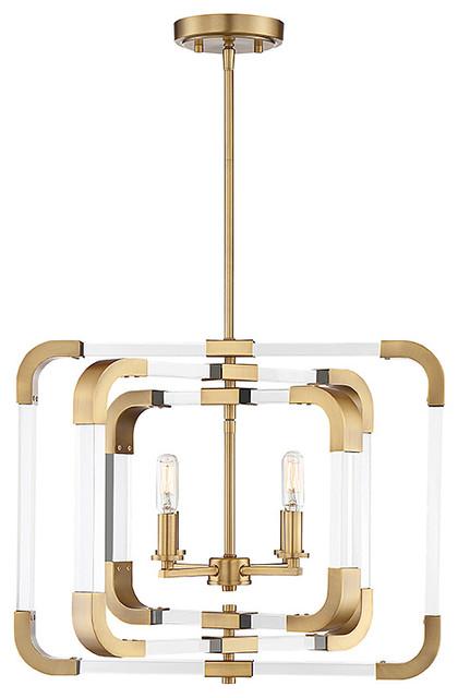 Rotterdam 4-Light Convertible Semi Flush, Warm Brass.
