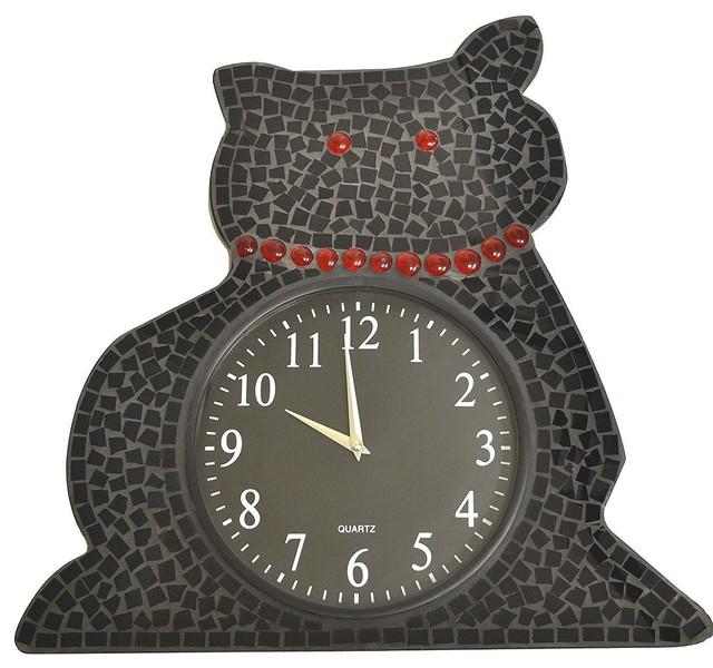 Lulu Decor Black Drop Wall Clock : Lulu decor black mosaic cat wall clock with arabic
