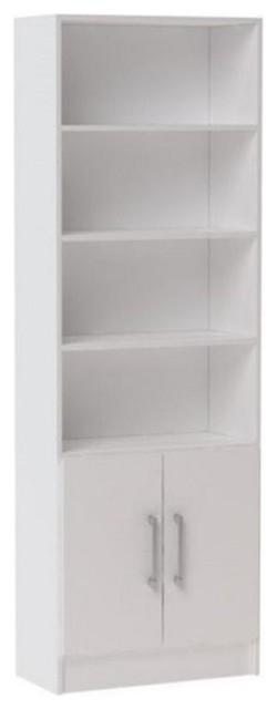 Bowery Hill 6-Shelf Bookcase, White.