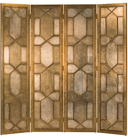 Folding Screen, Gold and Silver Leaf Finish contemporary-screens-and-room- - Folding Screen, Gold And Silver Leaf Finish - Contemporary