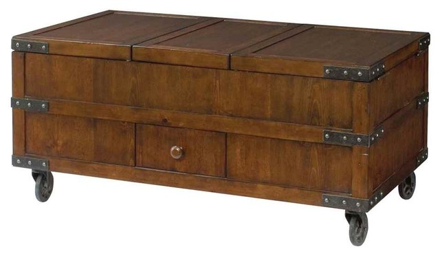 hidden treasures lift top trunk cocktail table 090 520 industrial coffee tables by the. Black Bedroom Furniture Sets. Home Design Ideas