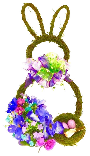 Spring Easter Bunny Bird Nest Wreath, Purple, Green, And Pink.
