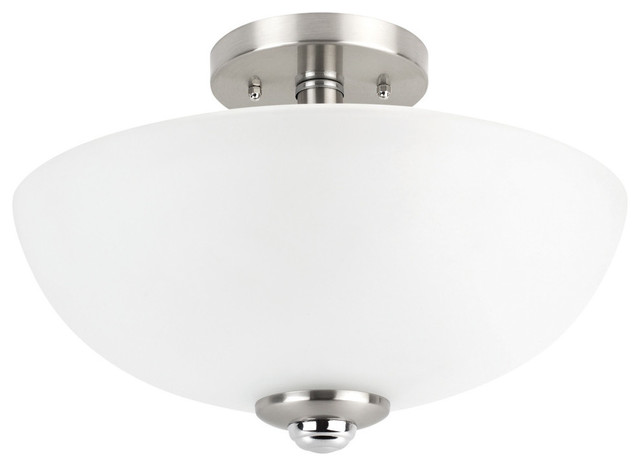 Hudson 2-Light Brushed Nickel And Chrome Semi-Flush Mount Ceiling Light.