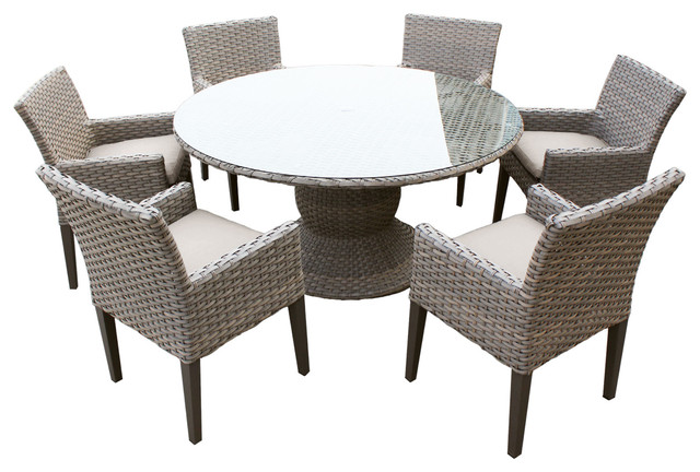 Harmony 60 Quot Outdoor Dining Table With Arm Chairs 7 Piece