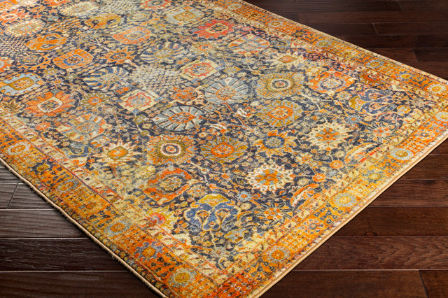 """Silk Road Updated Traditional Bright Yellow, Saffron Area Rug, 5&x27;3""""x7&x27;3""""."""