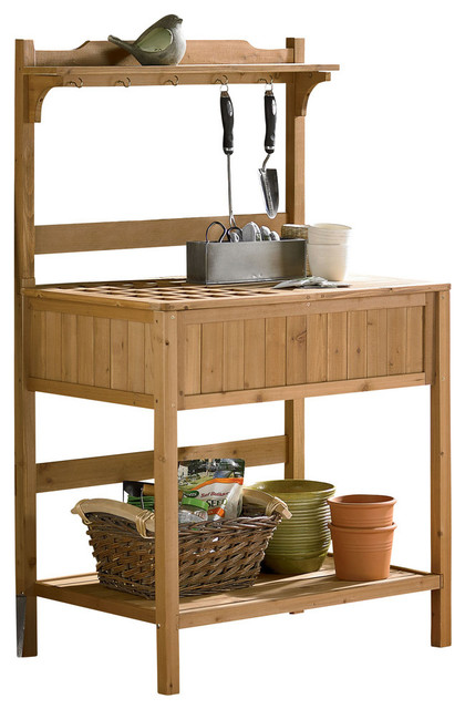 Potting bench with recessed storage transitional - Potting table with storage ...